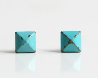 Turquoise Teal Blue Patina Verdigris Geometric Pyramid Metal Stud Earrings. Surgical Steel Earrings Post. Gift for Her