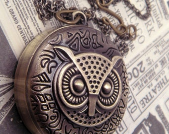 Lil Hooter Bronze Owl Quartz Pocket Watch Necklace Pendant with 30 Inch Bronze Chain