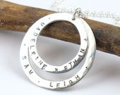 Double Circle Personalized Silver Name Necklace