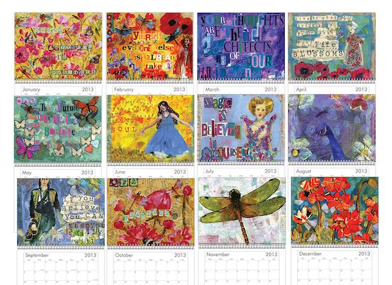 Wall Calendar 2013 Inspirational Art motivational Music lover or music teacher gift under 20