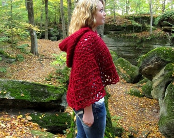 Red Hooded Cape Capelet Shawl