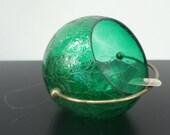 Green Glass Globe Ashtray