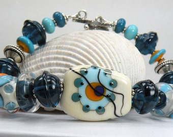 WARM WAVES Handmade Lampwork Bead Bracelet