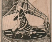 Rubber stamp  Steampunk  supplies dancers on a phonograph   cling stamp, unmounted or wood Mounted   3405