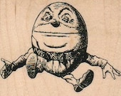 Humpty Dumpty wood mounted rubber stamp Stamp   Rubber Stamp  7849