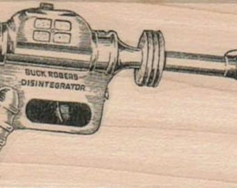 Buck Rogers Disintegrator gun  wood mounted rubber stamp   number 9789
