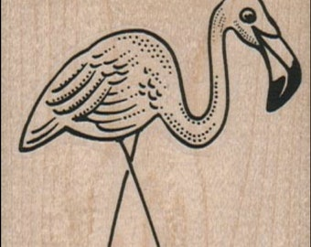 Lawn Flamingo pink  retro  wood mounted rubber stamp   number 1924