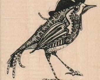bird rubber  stamp  bird with top hat    steampunk zentangle  art stamps original design by Mary Vogel Lozinak no 18890