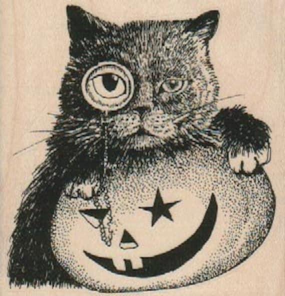 Rubber stamp   Halloween cat and pumpkin Jack o Lantern  unMounted  scrapbooking supplies number 18279