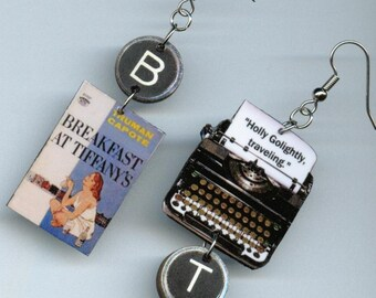 Book Typewriter Earrings - Breakfast at Tiffany's Truman Capote - Literary jewelry - readers gift