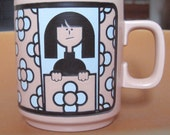 SALE-Vintage Hornsea John Clappison 1960s Best Wallpaperer Mug w/ Mod Girl