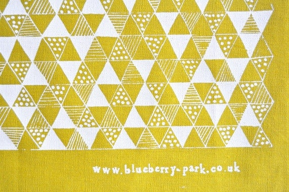 White on Yellow Triangle Mania screen printed fabric