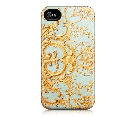 iPhone 4 Case, Plastic Case - Paris Photograph - Folie -  Feminine, Elegant Filigree Pattern, Blue and Gold, Marie Antoinette
