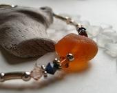 HONEY AMBER Genuine Sea Glass Swarovski Crystal Beaded Bracelet by Lake Erie Beach Glass LEbg