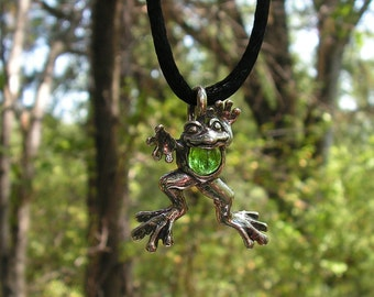 Sterling Silver Leaping Frog Pendant With Peridot