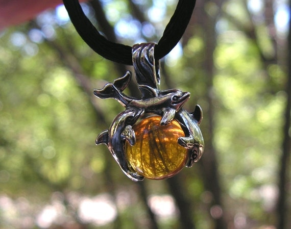 Sterling Silver Dolphins Pendant With Natural Amber