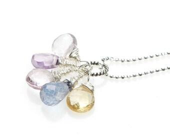 HARPER Sterling Gemstone Pendant- Your custom choice of any gemstones- fertility-pregnancy-childbirth necklace-birthstone necklace