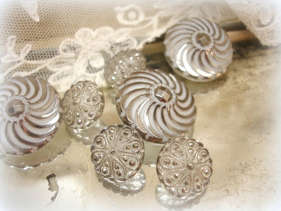 vintage glass buttons with luster . milk glass with silver luster . clear with silver . 2 sets