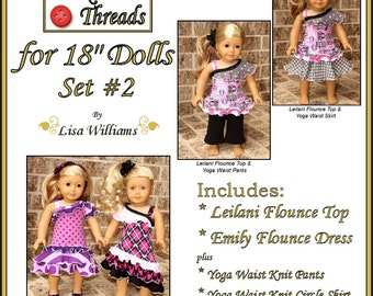 "INSTANT DOWNLOAD: Funktional Threads for 18"" dolls - Set 2 - diy pdf ebook pattern Emily Flounce Dress & Leilani Flounce Top"