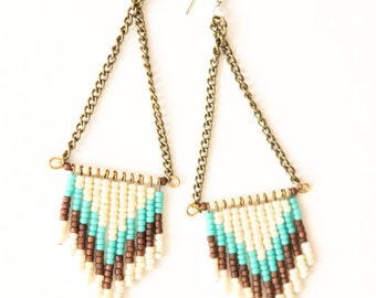 SALE  - Chevron seed bead earrings - cream, turquoise, earth