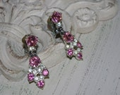 RESERVED for LEE..BOGOFF Vintage Pink Rhinestone and Clear Rhinestone Earrings..AmAzInG..Clip