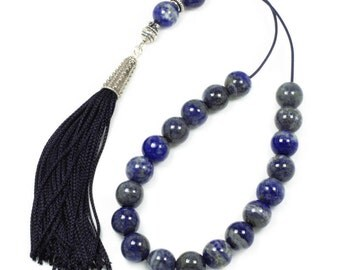 Worry Beads-Greek Komboloi - Lapis Lazuli Gemstone - Round