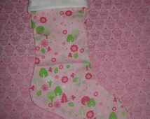 WINTER WONDERLAND in Pink Christmas Stocking, Holiday Decor, Pink Green White Trees Leaves Flowers Dots Snow