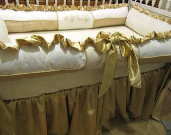 Custom Crib Set Luxury Ivory and Champagne bedding Ask about Other colors