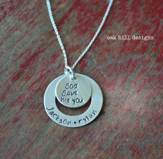 personalized jewelry, personalized necklace, hand stamped jewelry-god gave me you washer