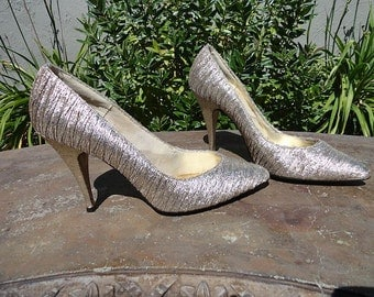 Vintage 80s Metallic Wild Knights High Heel Shoes sz 8M
