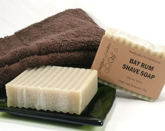 Man Soap - Handcrafted Bay Rum Shave Soap - Vegan - 4.5 - 5 oz bar