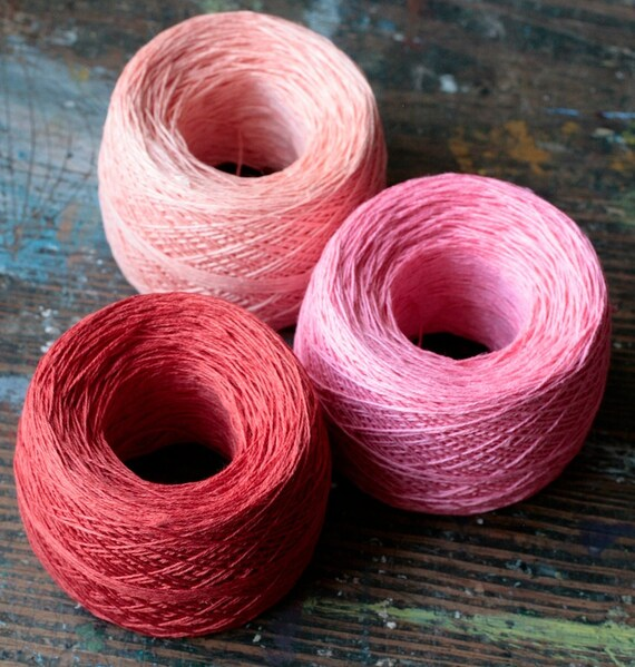 Linen yarn thread -- three balls -- pink, red