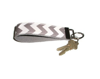 Gray Chevron Wristlet Keychain