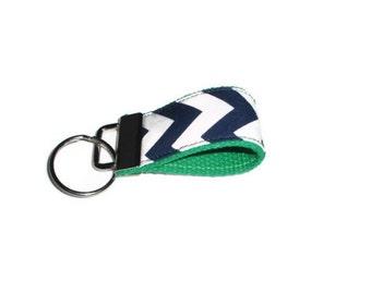 Navy Blue Chevron with Green Keychain