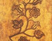Original Batik Art Indian Menominee Flower Framed