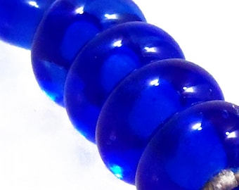 Transparent Blue Spacers, 6 glass beads