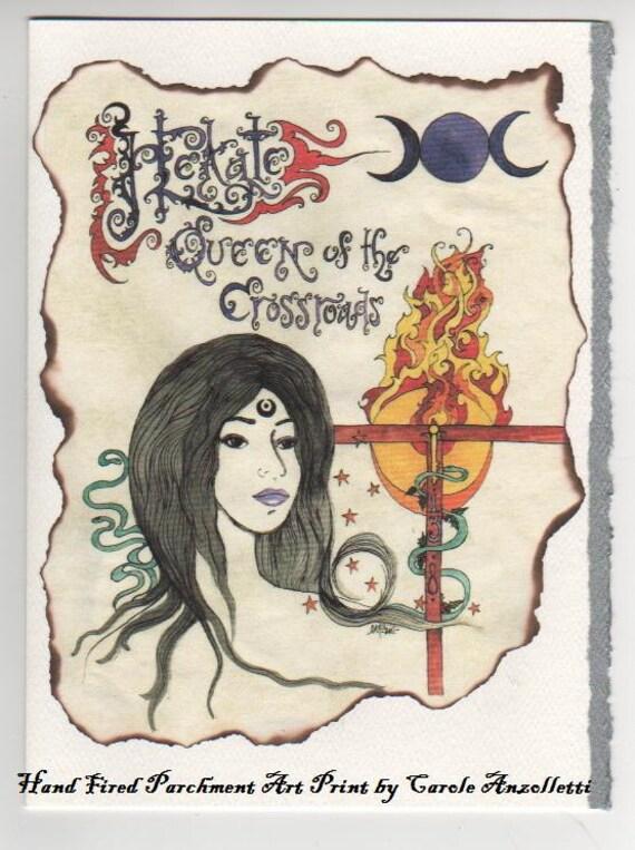 Hekate Crossroads Queen Art by Carole Anzolletti Blank Silver Deckle Edge Card