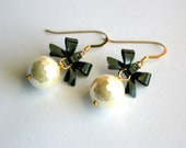 Pearl Bow Earrrings, Gold Fill, Off White Black, Bridal, Bridesmaid Jewelry