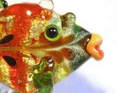 Handmade Lampwork Glass Bead Fish, Orange and Silver pendant, CGGE, tt team, SRA  focal bead ocean animal necklace, glassbead