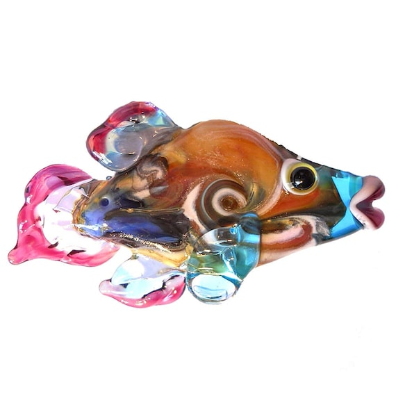 Lampwork beads glass handmade fish pendant colorful twist focal bead, CGGE team artisan jewelry,  animal, leteam