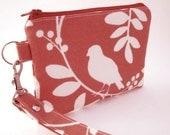 Zippered Wristlet with Detachable Wrist Strap-Birds