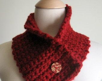 Rose Red Neck Cozy Neck Warmer Cowl with Carved Wooden Button