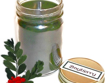 Bayberry Mason Jar Candle Christmas Tradition Spicy Pine Scent 12 Oz Handmade