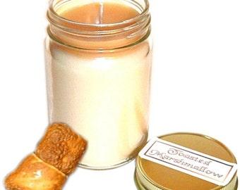 Toasted Marshmallow Mason Jar Candle 12 Oz Handmade