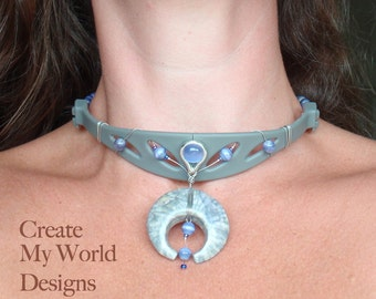 Upcycled Headphones Choker Necklace - Silk dyed polymer clay pendant