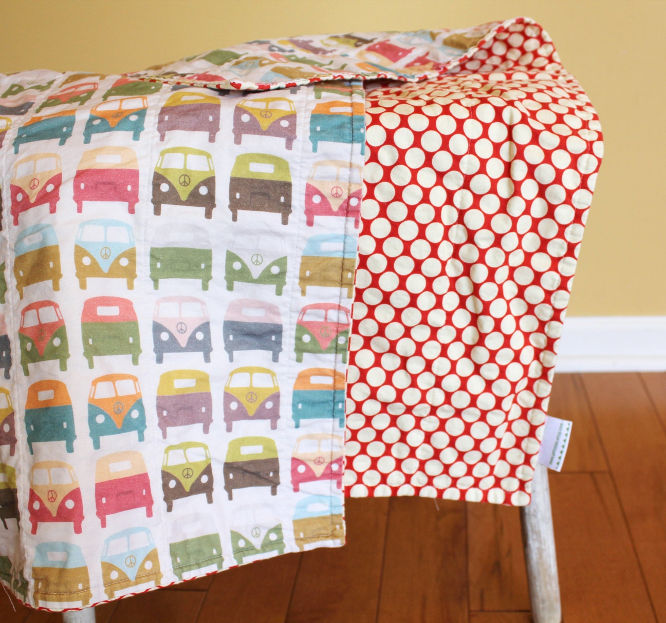 Vw Bus Quilt By Petunias Van Red Baby Blanket Photo Prop