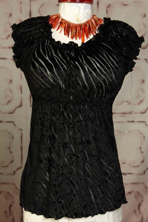 Reserved for Suzanne Zebra Stripe Black Lace Blouse