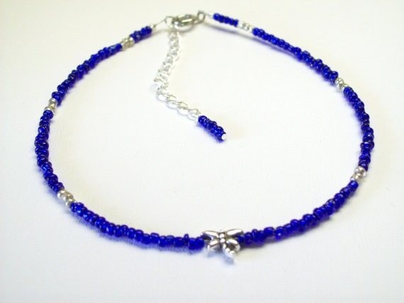 SPECIAL PRICE Dragonfly Charm Blue Crystal Seed Bead Bracelet Thin Seed Bead Bracelet