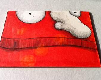 Orange monster original art card