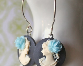 Vintage Cameo Sterling Silver Earrings - Lady in White with Blue Rose